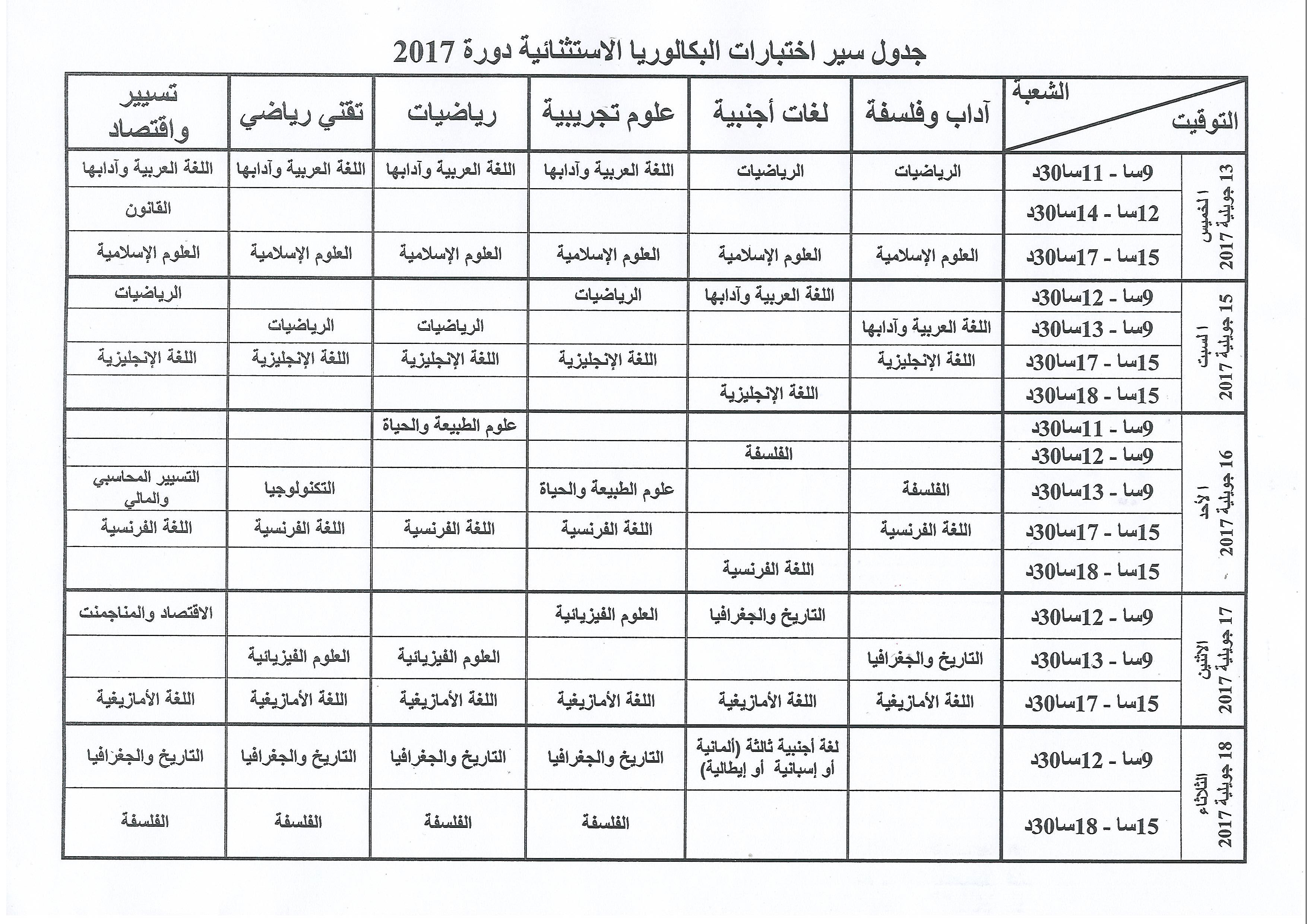 رزنامة الدورة الاستثنائیة لامتحانات البكالوريا 2017 Bac11
